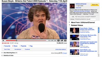 screen grab of susan boyle on youtube